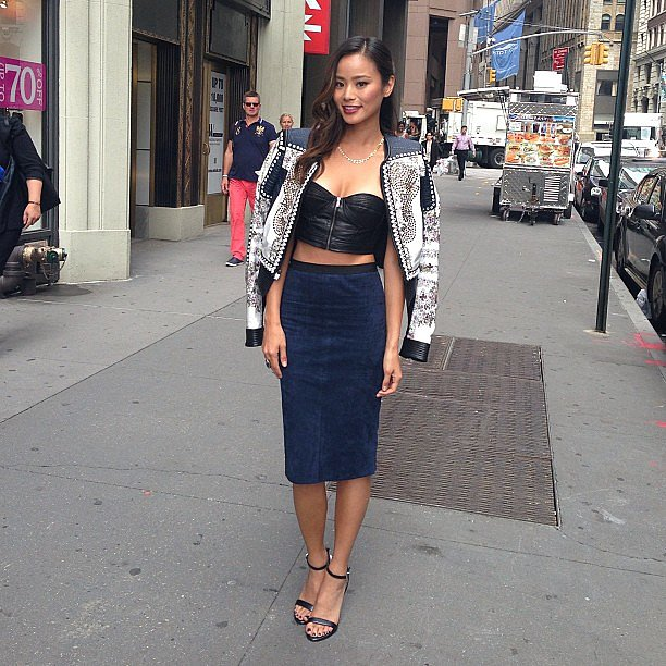 Jamie Chung shared a photo of her day one NYFW outfit. Source: Instagram user jamiejchung