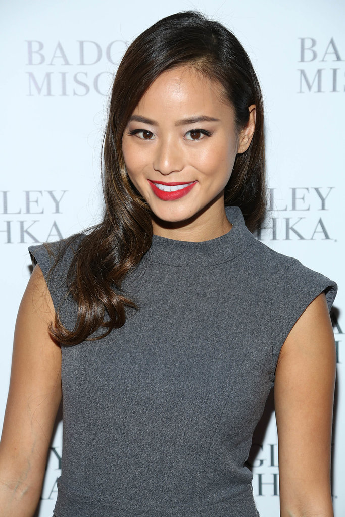 Jamie Chung at Badgley Mischka Spring 2014.