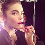 The lip at Milly was achieved with an orange-red blush mixed with lip pencil to get a gradient effect.