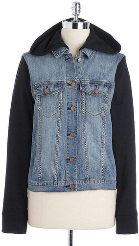 TINSEL Hooded Denim Terry Layered Jacket
