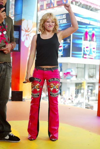 Hilary Duff rocked some bright pants during a 2003 TRL appearance.