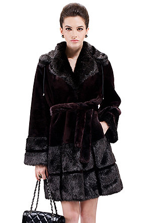 Stephanie/faux red wine mink cashmere with black mink fur/middle fur coat - New Products