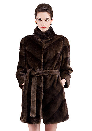 Renee/faux brown mink fur stand collar/middle fur coat - New Products