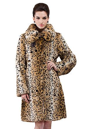 Kimberley/faux leopard print rabbit fur/middle fur coat - New Products