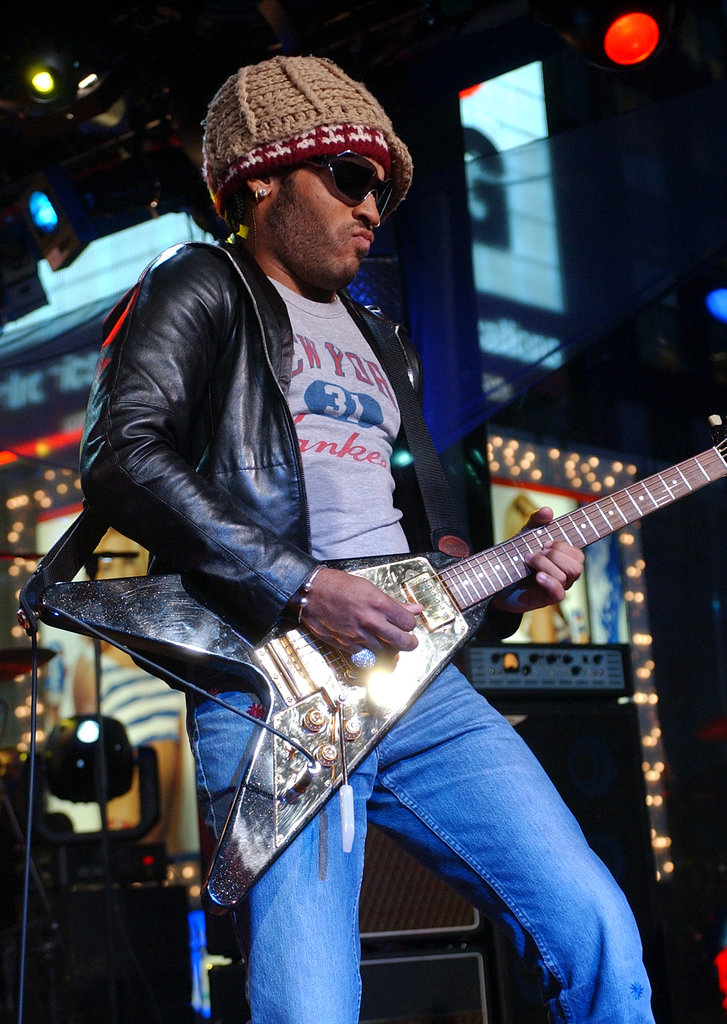 Lenny Kravitz performed on MTV's TRL in 2001.