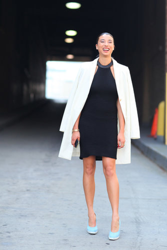 Lily Kwong accented her LBD with sky-blue heels.