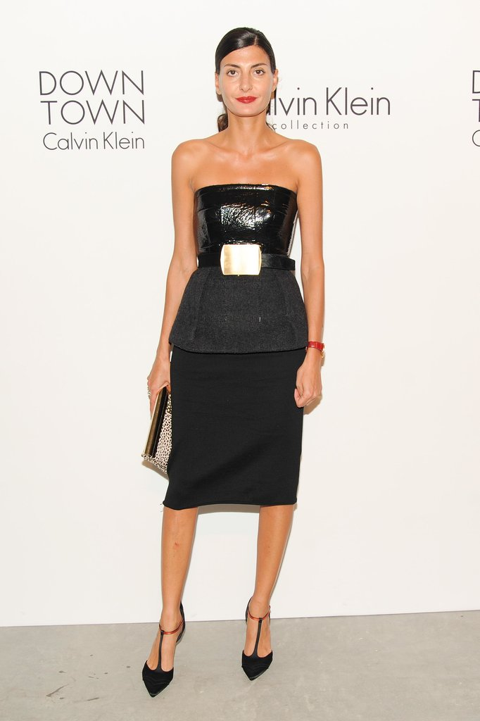 At the Calvin Klein afterparty, Giovanna Battaglia looked powerful in the label's armored ensemble.