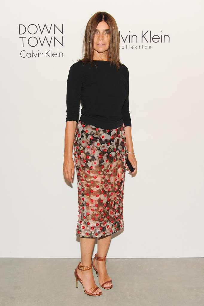Carine Roitfeld arrived for the Calvin Klein Downtown event in a sheer floral pencil skirt.