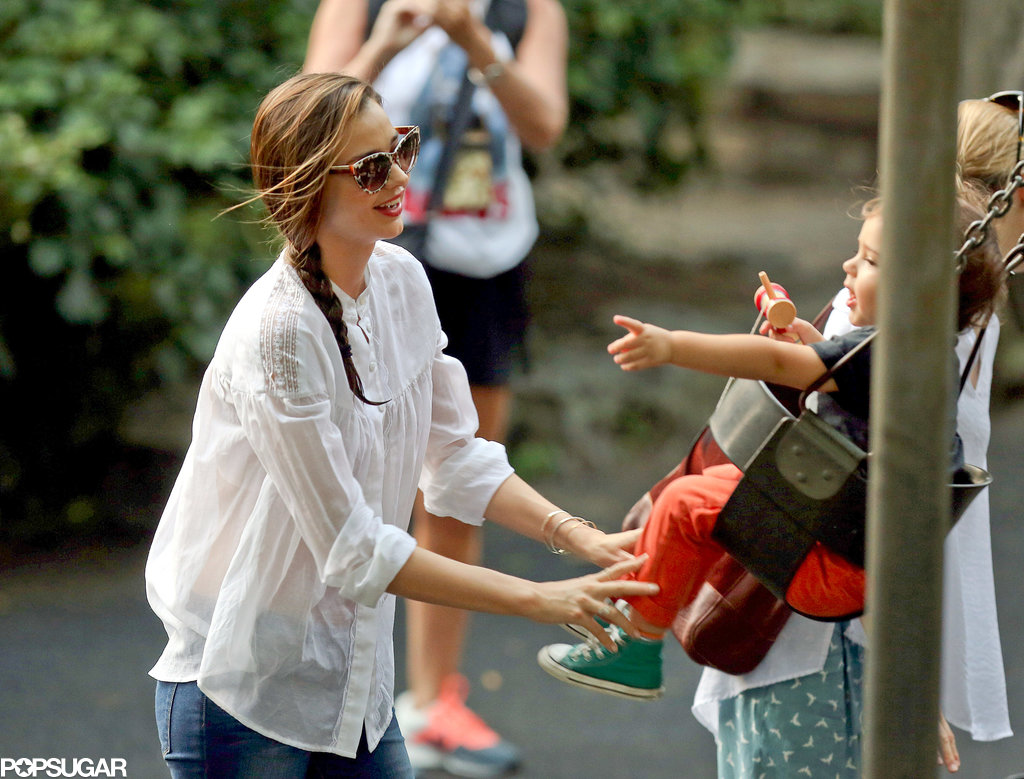 Miranda Kerr took Flynn to the playground in Central Park.