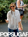 Miranda Kerr gave a smile at the park.