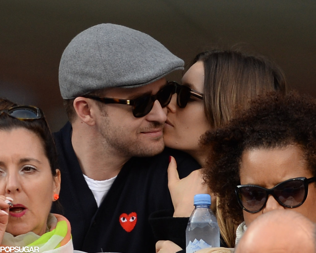 Justin Timberlake got a kiss from his wife, Jessica Biel, at the US Open men's final match. They were not the only famous faces in the crowd — check out all of the stars at the US Open.