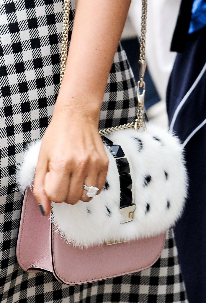 Texture meets a pretty pale pink in this Valentino bag.