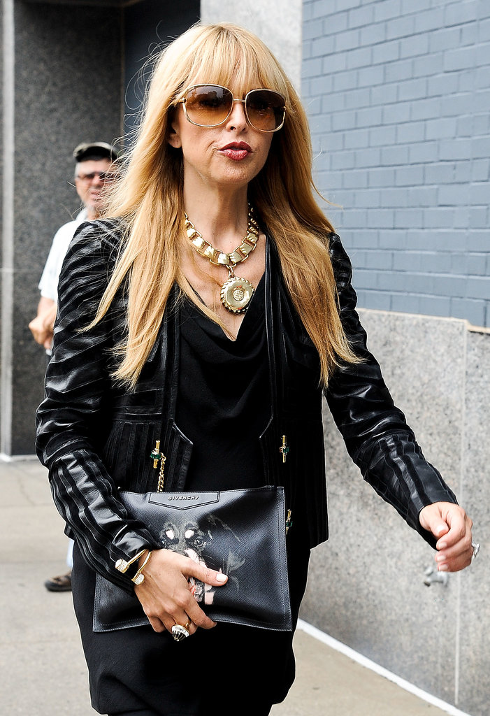 Rachel Zoe armed herself with heavy metal jewels and her '70s frames.