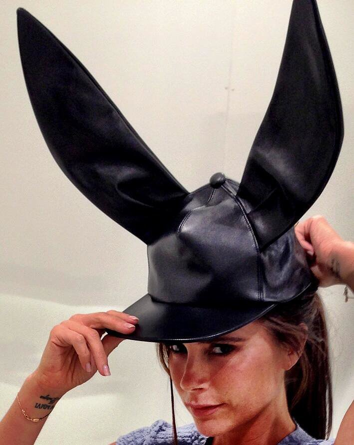 Victoria Beckham modeled a bunny hat while showcasing her Victoria Victoria Beckham line. Source: Twitter user victoriabeckham