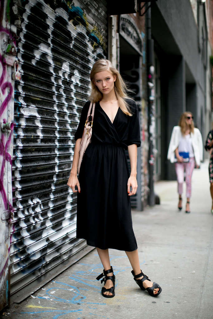 A basic dress got a jolt with strappy sandals.