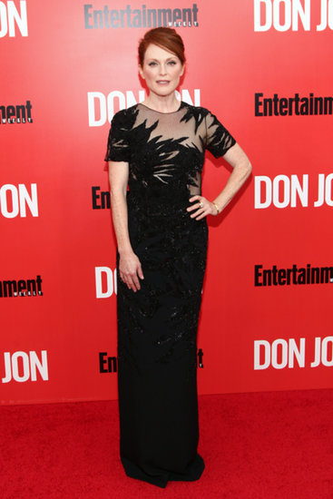 Julianne Moore was nothing short of stunning in a black sequined gown at the Don Jon premiere in NYC. The subtly sexy, sheer leaf motif made her one of our favorite red carpet looks of the week.