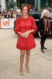 Did you hear? Julia Roberts made her first red carpet appearance in a really long time at the Toronto Film Festival this week. And we must say, she made quite the entrance in a red lace Dolce & Gabbana number and nude Gucci accessories.