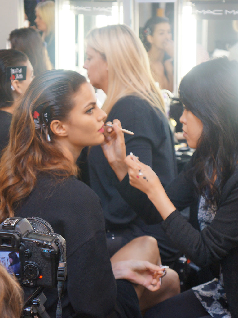 The MAC team worked on the bold lip backstage at House of Holland Spring 2014.