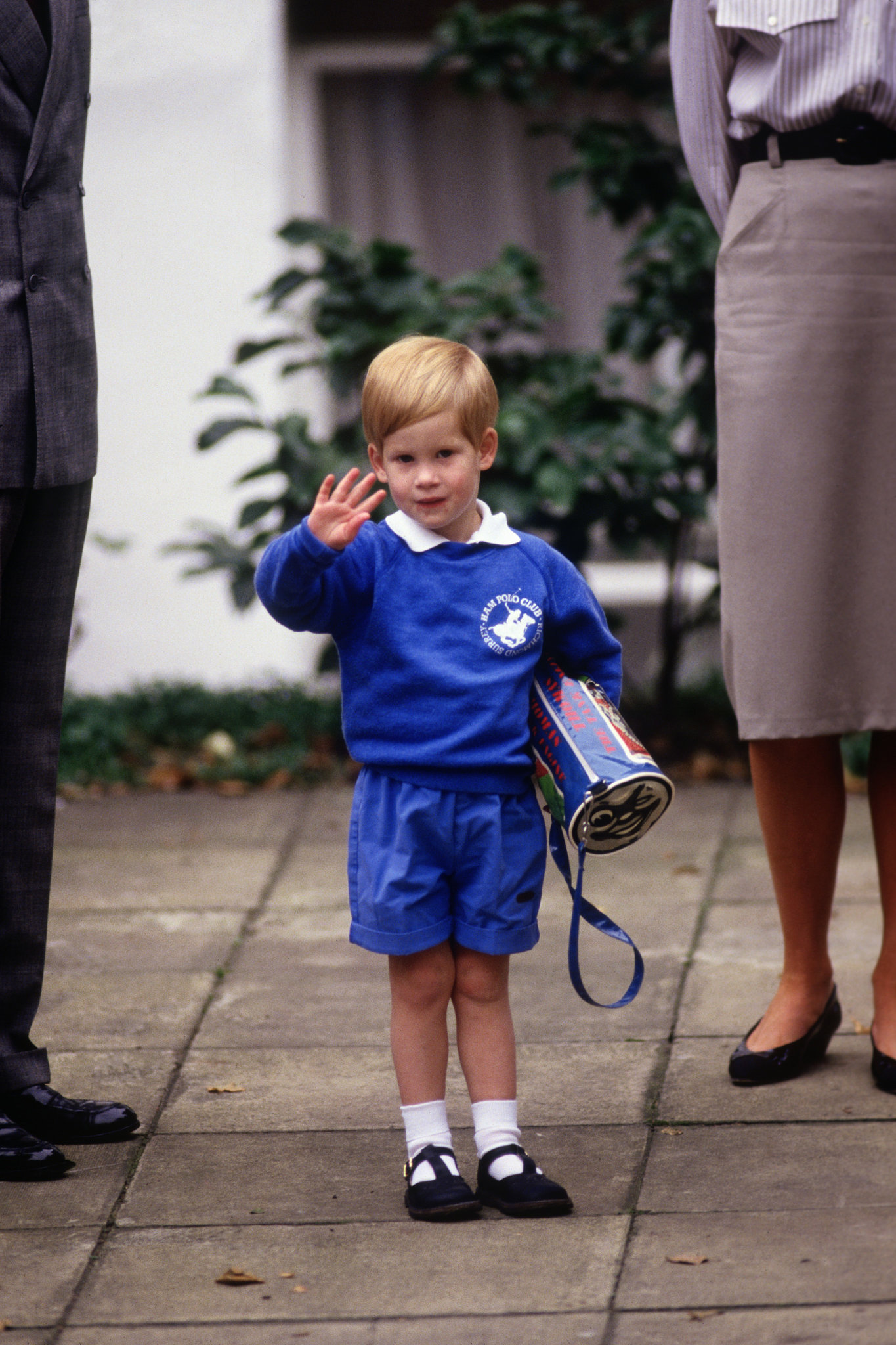 The 3-year-old Prince Harry looked cute in his uniform on his way to nursery school in London's Notting Hill in 1987.