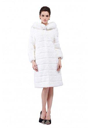 Phoebe/faux white rabbit cashmere/long fur coat - New Products