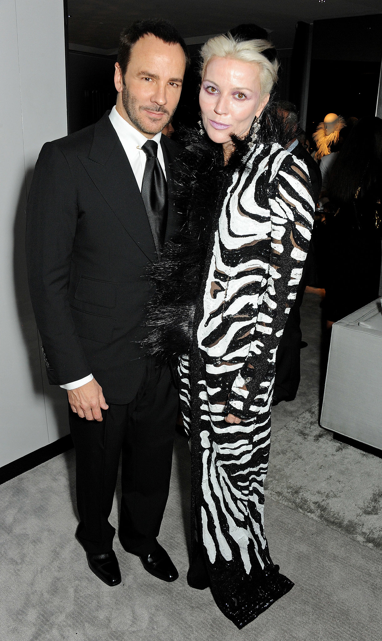 Daphne Guinness joined Tom Ford in his black and white column for the designer's London flagship opening.