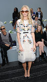 Poppy Delevingne proves you can still wear white after Labor Day — especially when floral embellishment is involved — at Erdem.