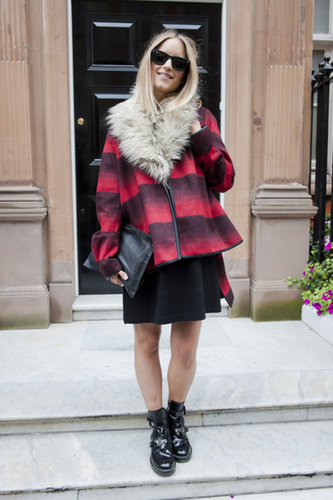 Something to steal for Fall — a little plaid with a furry collar.