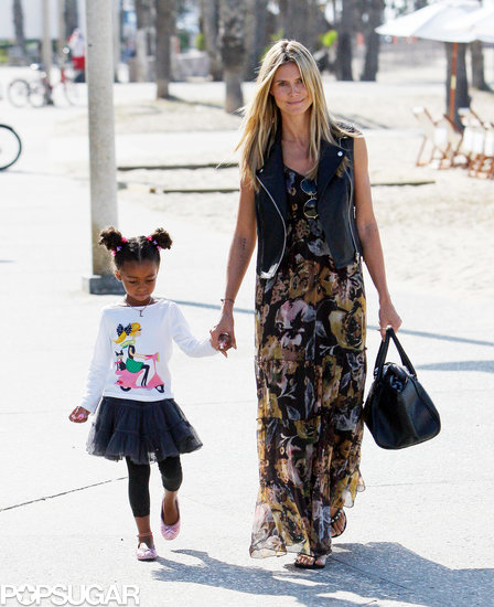 Heidi Klum held hands with her daughter Lou on the way to breakfast in LA on Saturday.