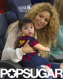 Shakira and her son, Milan, went to a Barcelona soccer game.