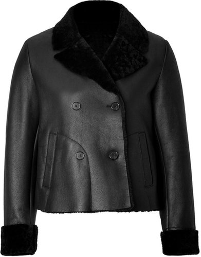 Jil Sander Navy Lambskin Jacket in Black