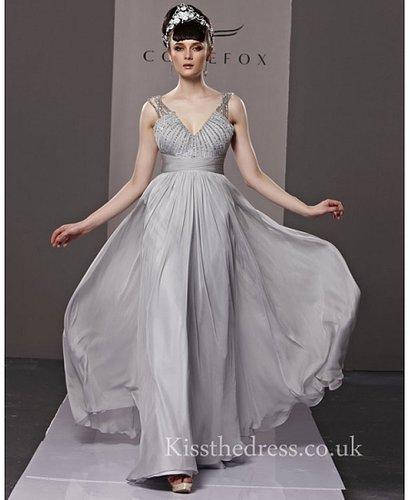 Grey Chiffon V-neck Straps Empire Long Prom Dress CYH81195