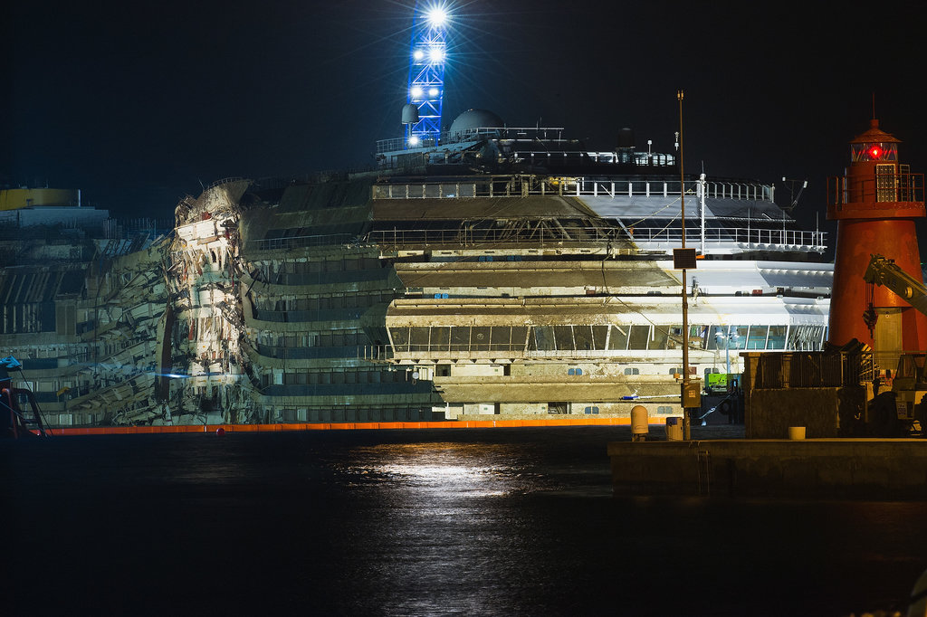 The damaged half of the Costa Concordia could be seen once the vessel was righted.