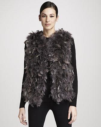 Trilogy Dyed Turkey Feather Vest, Gray