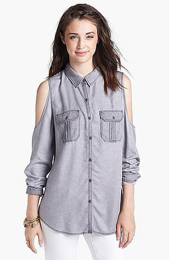 This Rubbish Cold Shoulder chambray shirt ($49) makes it easy to show a little skin.