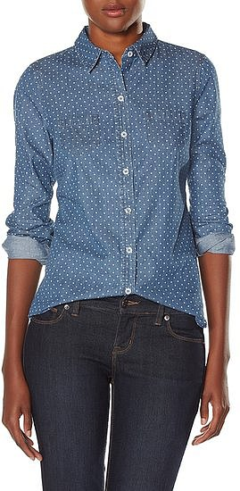 The Limited's polka-dot chambray shirt ($50) would look adorable layered up with a card