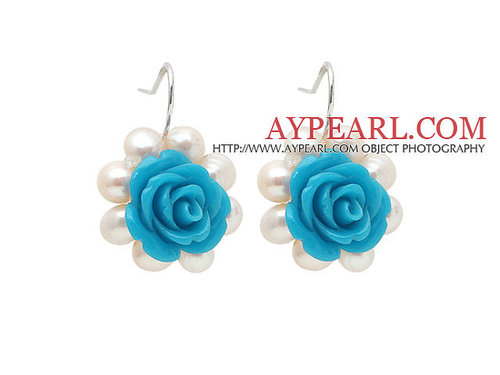 Fashion Style White Freshwater Pearl and Blue Acylic Flower Earrings