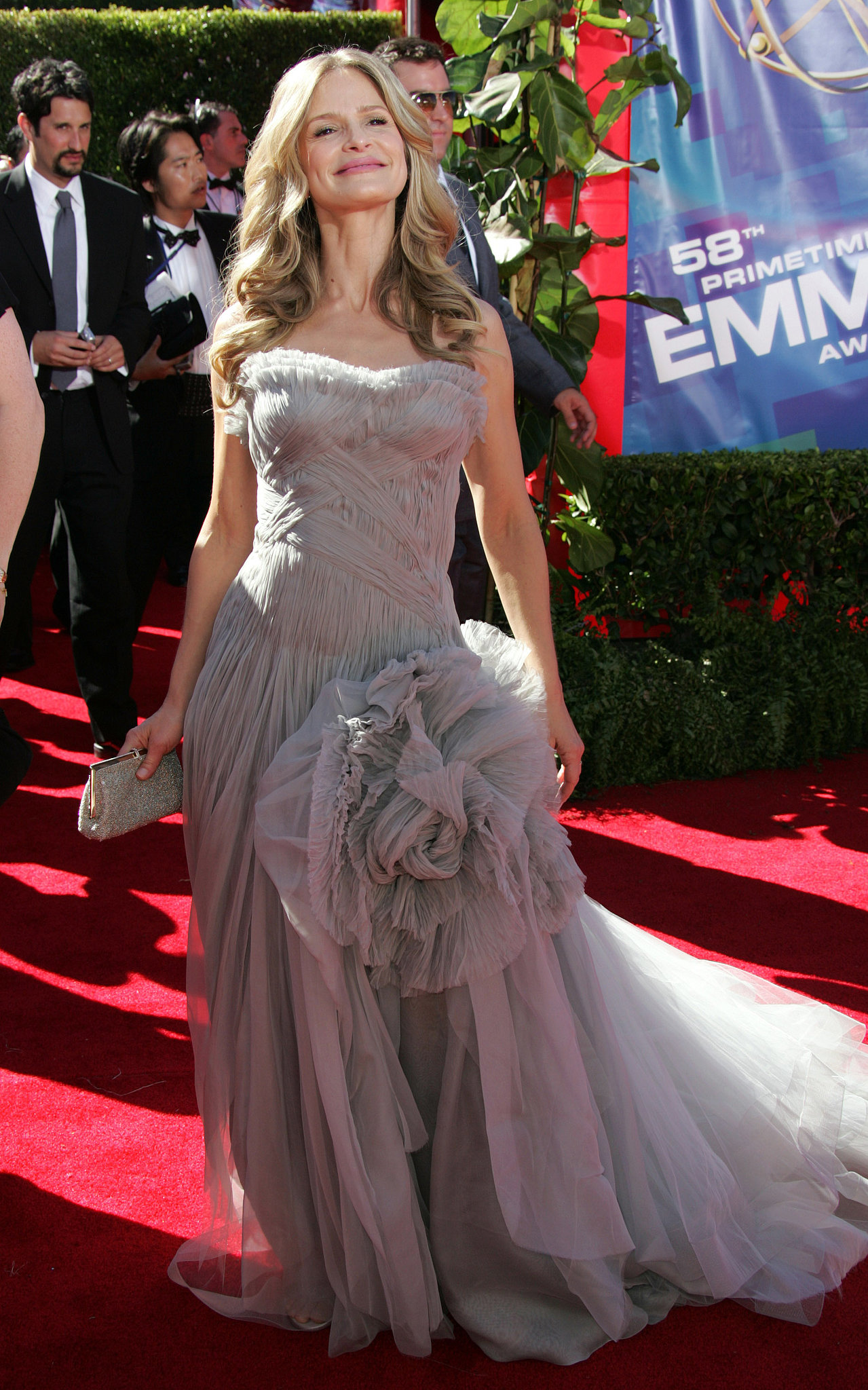 The Closer's Kyra Sedgwick selected an intricate gray gown for her walk down the red carpet in 2006.