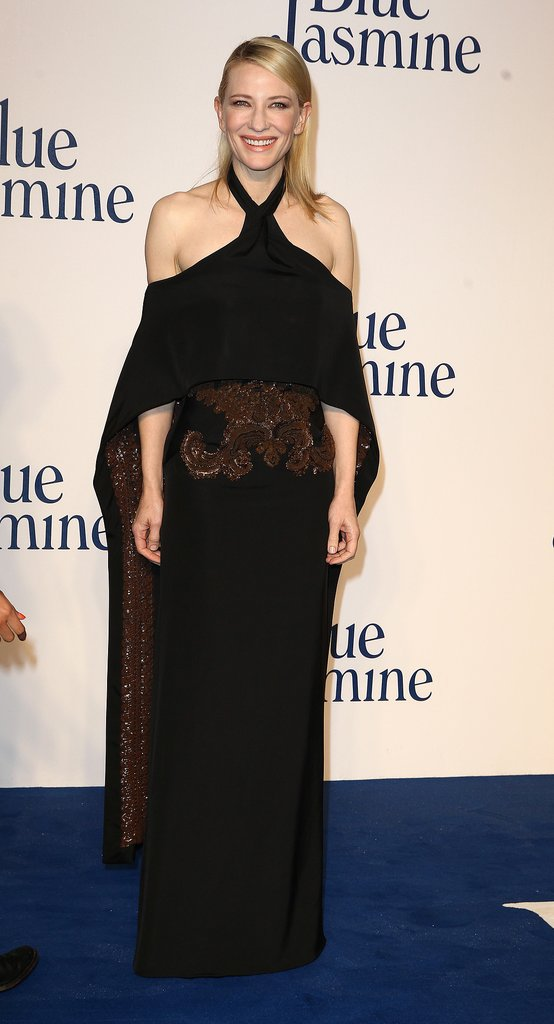 Cate Blanchett in Black Givenchy Haute Couture at the 2013 Blue Jasmine London Premiere