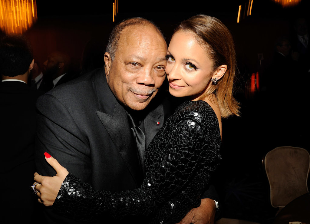 Nicole Richie shared a cute moment with her godfather, Quincy Jones, during a pre-Grammys gala in LA in February 2013.