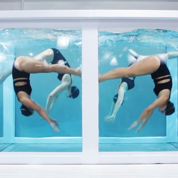 Stella McCartney's sporty models swam, spun, and kicked at the designer's Adidas presentation. Source: Instagram user stellamccartney
