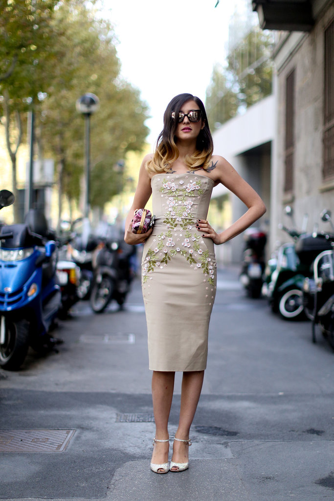 Just what Milan street style should be: romantic and a little whimsical.