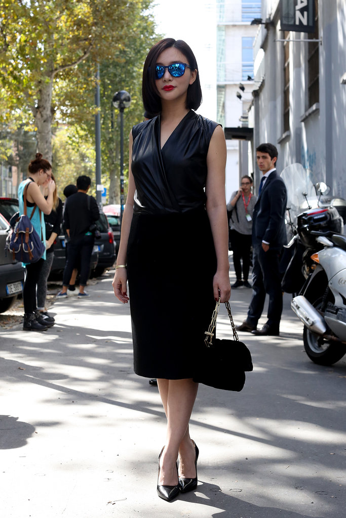 The shades made this chic black sheath cooler than most.
