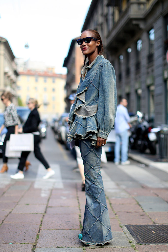 This denim-on-denim moment was just as much about the texture.