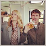 James Blunt stopped by the POPSUGAR NYC office for an interview and an ice-cold beer. Source: Instagram user amerr1000