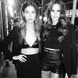 Models Lily Aldridge and Izabel Goulart went black on black for a night on the town. Source: Instagram user lilyaldridge