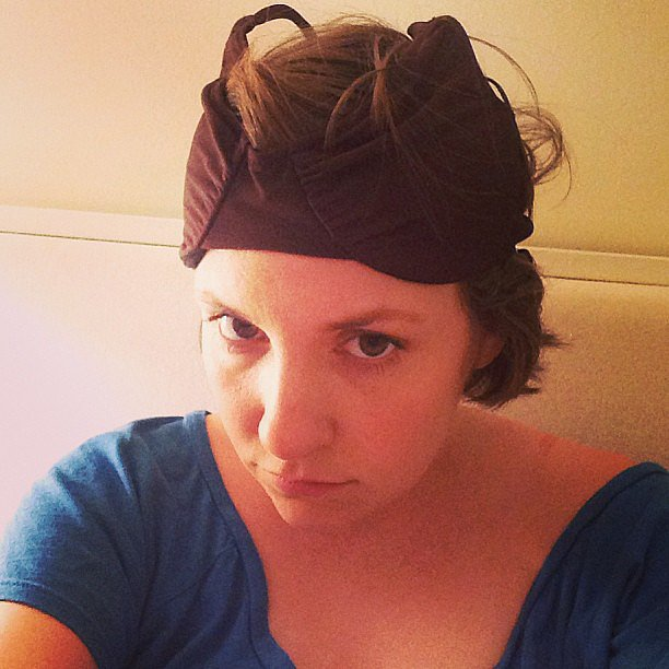 Lena Dunham tried out a bold new look by wearing a bra on her head. Source: Instagram user lenadunham