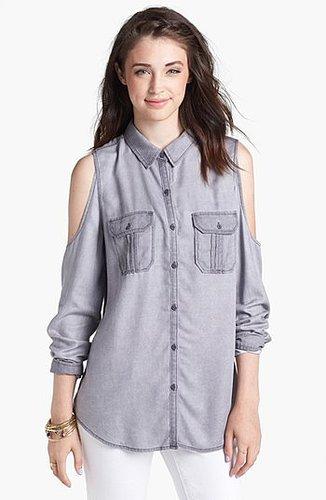 Rubbish® Cold Shoulder Chambray Shirt (Juniors)