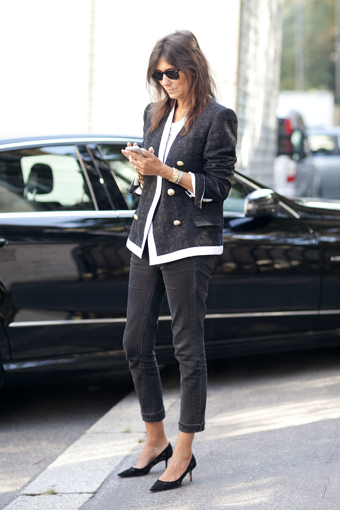 Emmanuelle Alt perfects Parisian chic on the streets of Milan.