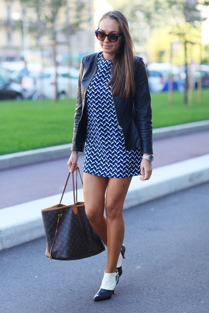 A little geometric dress and equally awesome footwear.