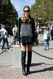 Chiara Ferragni added over-the-knee boots to a glitzy top.